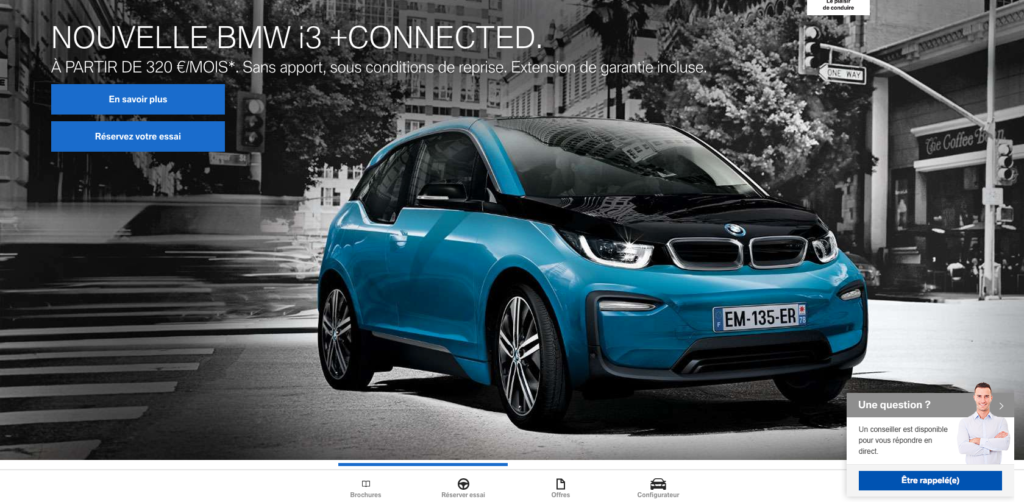 Capture d'écran du site internet de BMW